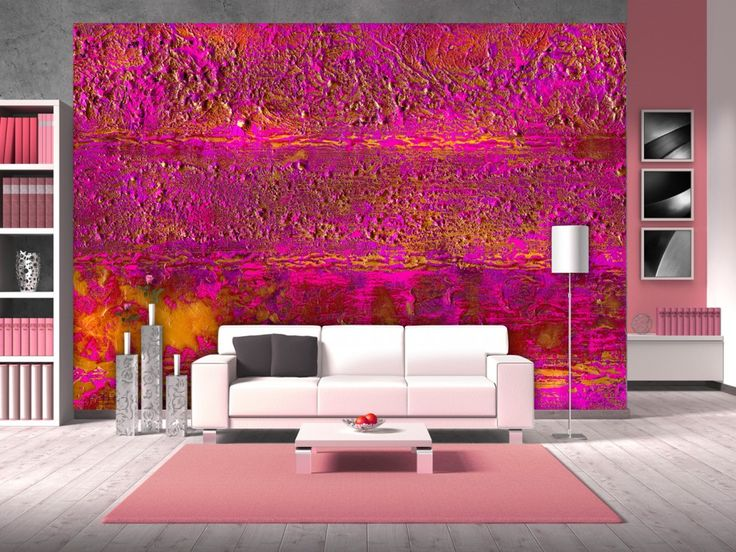 """Die Fototapete """"Pink Offensive"""" mit den kräftigen Farben verleiht jedem Wohnzimmer einen modernen Touch. #fototapeten #fototapete #wanddekoration #wanddeko #bimago #dekoration #homedecor"""