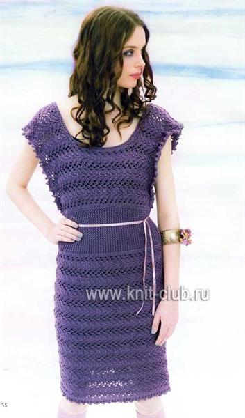 Фиолетовое летнее платье спицами