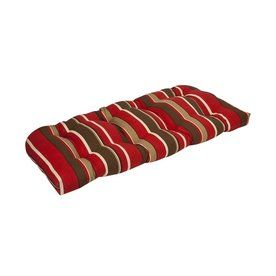 Pillow Perfect Red Brown Striped Seat Pad For Loveseat 353371