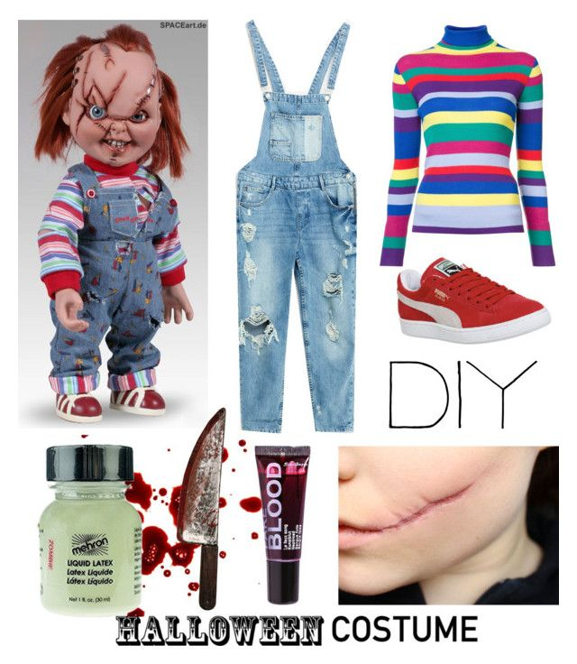"""DIY Halloween Costume #3"" by kingsoflea ❤ liked on Polyvore featuring Mira Mikati, Puma, Boohoo, Mehron, chucky, halloweencostume, childsplay and DIYHalloween"