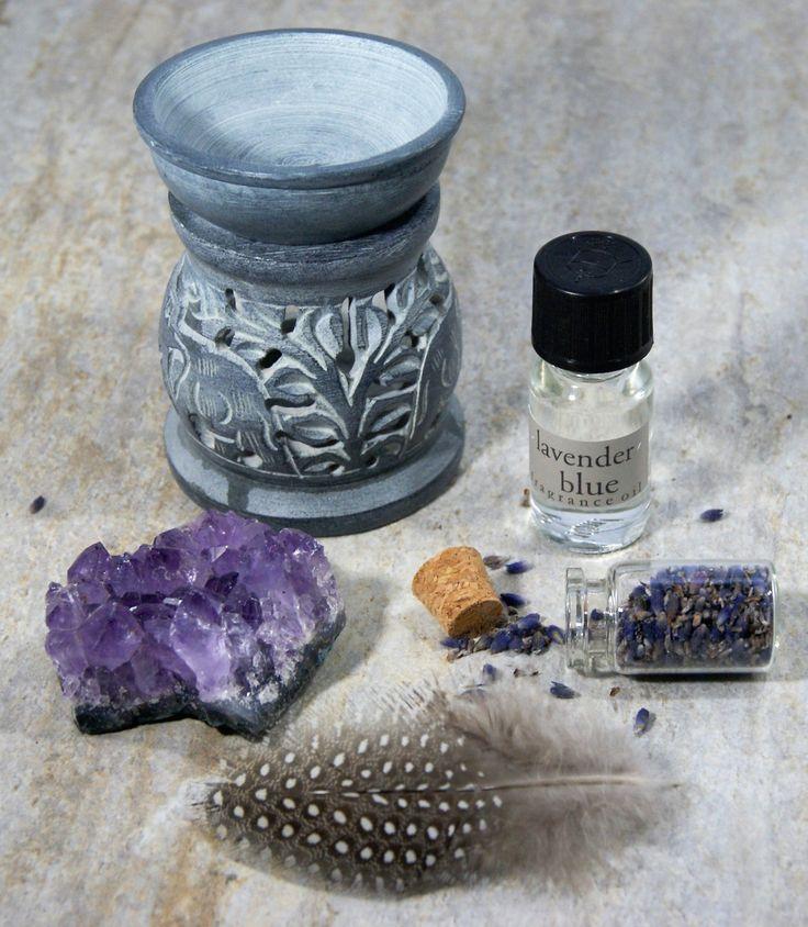 NEW!! Mini Oil Burner Gift Set, Soap Stone Oil Burner, Carved Oil Burner, Scented Oil Set with Amethyst by MabelandMillar on Etsy https://www.etsy.com/uk/listing/270197758/new-mini-oil-burner-gift-set-soap-stone