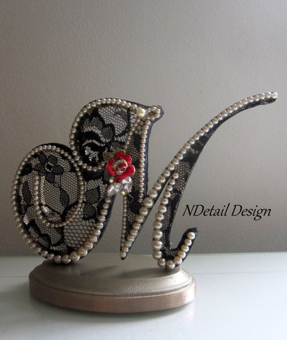 Wedding Cake Topper & Display: Monogram Letter M in Champagne and Black Lace with Red Rose Brooch