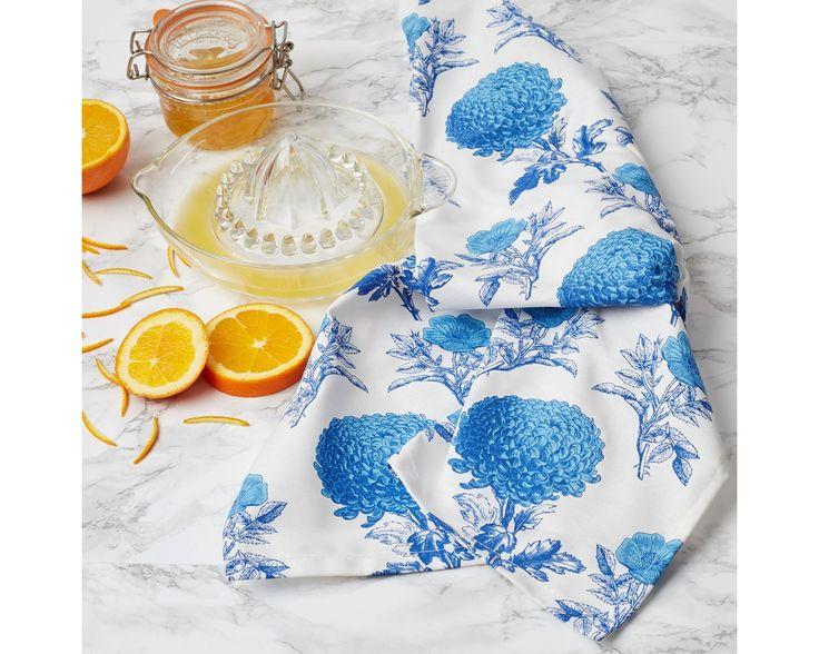 Blue Mums & Roses Tea Towel by Thornback & Peel