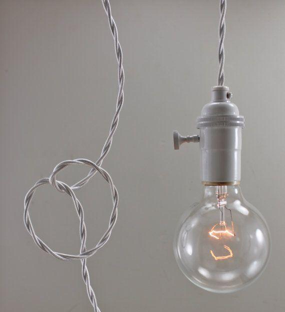 white modern bare bulb pendant light simple edison. Black Bedroom Furniture Sets. Home Design Ideas