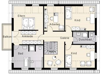 ELW im EG integriert, passt  Grundrisse: OKAL Haus - Zweifamilienhaus - FN 104-134 B V3 * (Effizienzhaus 55)