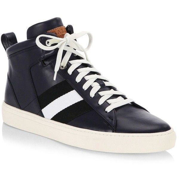 Bally Hedern Leather Mid-Top Sneakers ($495) ❤ liked on Polyvore featuring men's fashion, men's shoes, men's sneakers, mens leather sneakers, bally mens shoes, mens rubber sole shoes, mens sneakers and bally mens sneakers