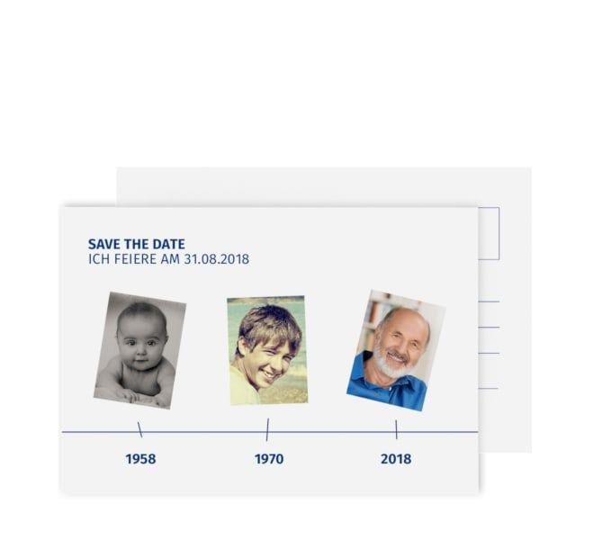 Foto Zeitstrahl Einladung runder Geburtstag 60 Jahre Einladungskarten Karten
