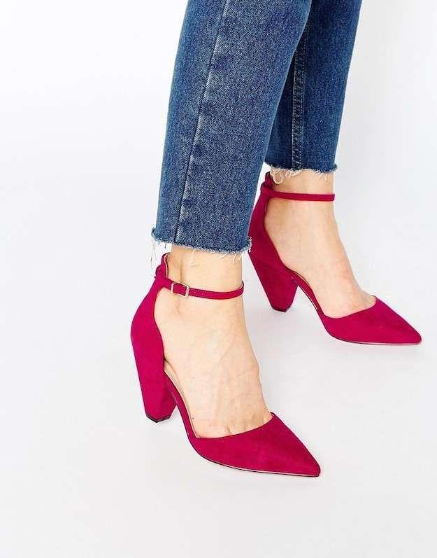 Zapatos rojos para el otoño-invierno 2015/2016: fotos de los modelos - Salones con hebilla en rojo oscuro Asos