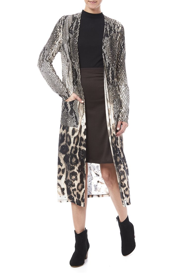 Snake printed duster with scattered sequins and a midi length. Snake Print Duster by Frank Lyman. Clothing - Jackets, Coats & Blazers - Kimonos & Wraps Atlantic City, New Jersey New Jersey