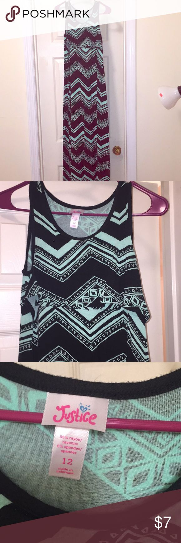 Girls tank maxi dress Black and green Aztec pattern maxi dress from JUSTICE. size 12. Justice Dresses Casual