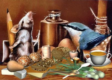 Friends - mouse, food, bird, breakfast