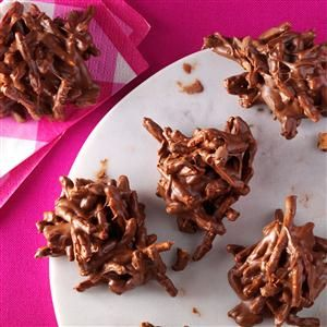Chocolate Butterscotch Haystacks Recipe- Recipes  My awesome grandmother made haystacks and would sneak them to my cousin Vonnie and me when our parents didn't want us to have any more sugar. —Christine Schwester, Divide, CO