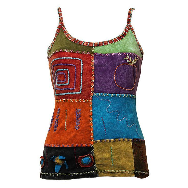 Patchwork Embroidered Vest Top