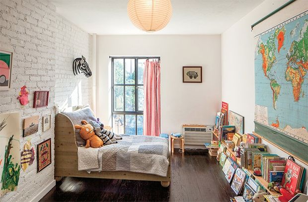 love all the textures, and low bookshelves. gender neutral kids room