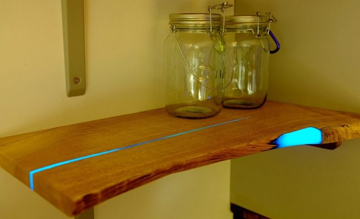 Cool DIY Project: Glowing Resin Inlaid Wood Shelves