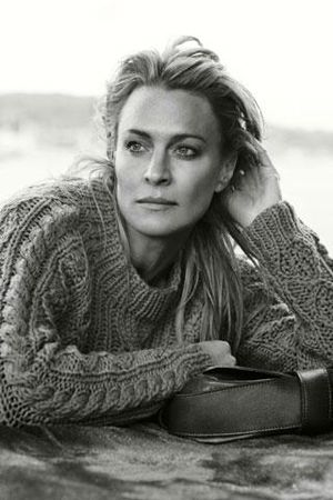 Robin Wright in fisherman cables