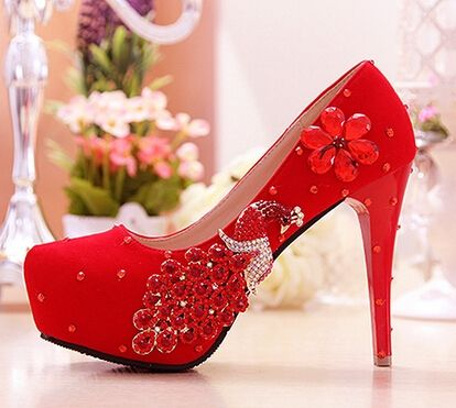 (44.20$)  Buy here  - Freeshipping Luxury Rhinestone Wedding Shoes Red Bridal High Heel Pumps Sexy Bride Shoes Peacock Crystal Designer Shoes R200