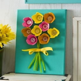 canvas art using paint and egg cartons.