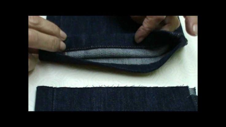 Como coger el largo a un pantalón vaquero. Marcar mejor también a la mitad para doblar más exacto.