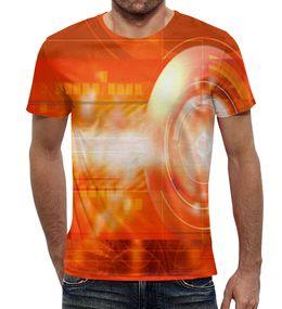 """Футболка с полной запечаткой """"Оранжевая абстракция."""" - оранжевый, стильная, яркий, уникальный, круглый"""