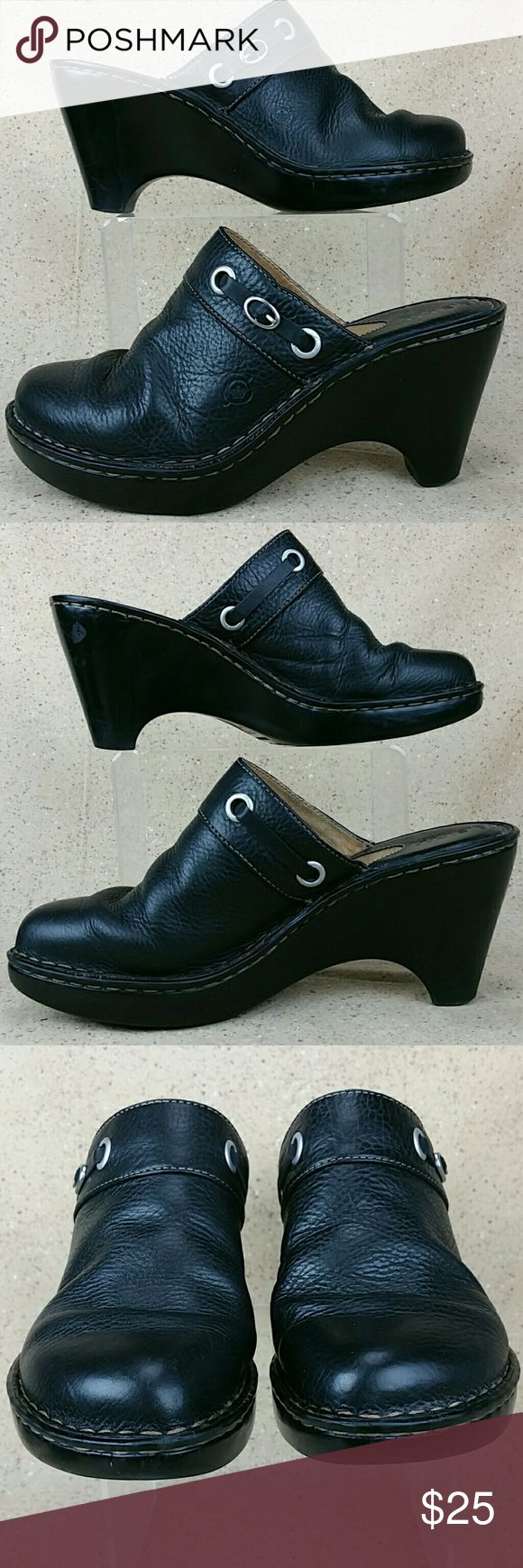 Born Black Wedge Mule Clog W 8M These shoes are pre-owned in nice condition.  Gentle wear on the outside includes creasing and scratches. Some wear to the bottoms. Look over the pictures carefully before purchasing. Shoes Mules & Clogs
