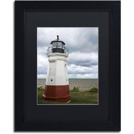 Trademark Fine Art Vermillion Ohio Lighthouse Canvas Art by Kurt Shaffer, Black Matte, Black Frame, Size: 16 x 20, Red