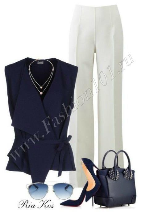 Летний офисный образ: брюки и блуза