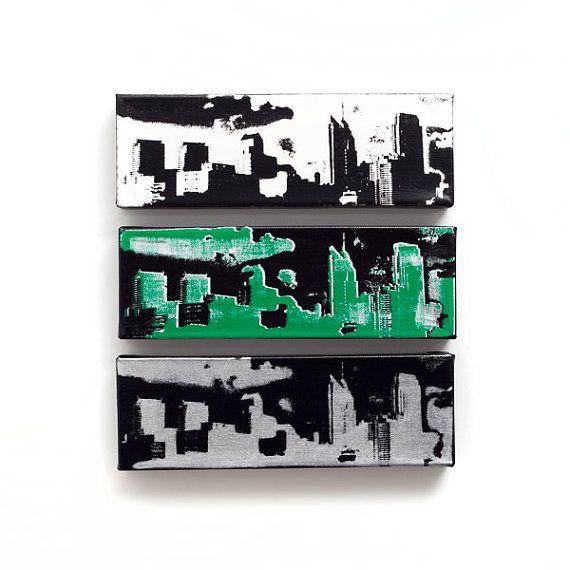 Philadelphia Skyline Canvas Set of 3 12 x 4 inches by iNKthePRINT