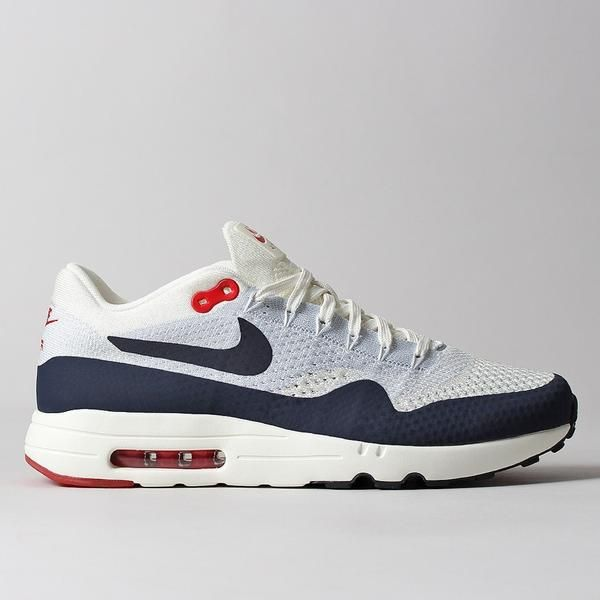 Made with lightweight Flyknit uppers for breathable comfort, the Nike Air  Max 1 Ultra Flyknit Shoes in Sail/Obsidian features contrasting no sew film  overla