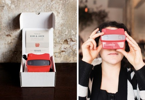 Viewmaster wedding invitations. Who comes with this stuff? So cool.: Viewmast Invitations, Creative Invitations, Portfolio Ideas, Cool Wedding Invitations, Fun Ideas, Cool Ideas, Parties Invitations, Fun Invitations, Anniversaries Parties