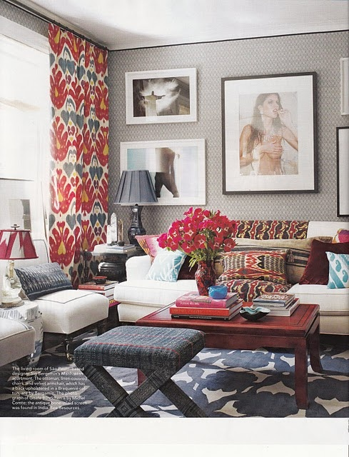 Everything: Colors Combos, Curtains, Living Rooms, Red, Elle Decor, Blue, Elledecor, Gray Wall, Patterns Mixed