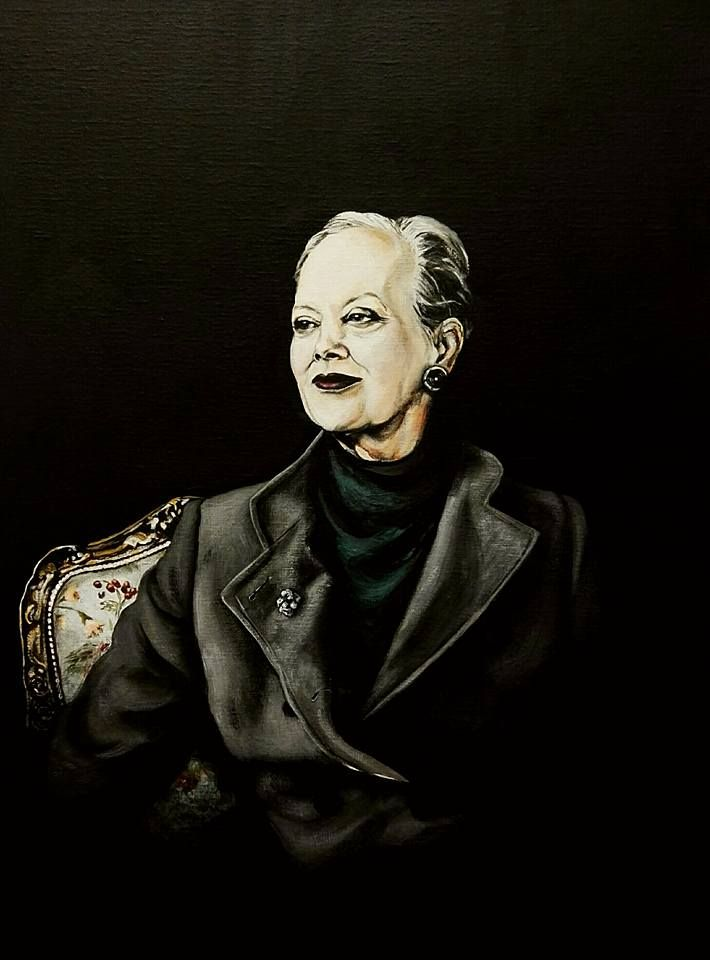 Portræt af Dronning Margrethe 2 Akryl på lærred 60 x 80