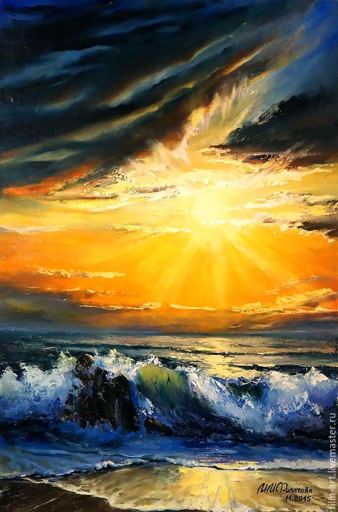 """Купить Морской пейзаж Картина маслом на холсте - """"Море в сиянии заката"""" - оранжевый, синий, желтый"""