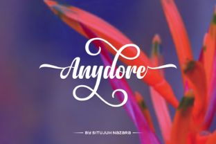 http://The Anydore font is a strong handwritten script created by Situjuh Nazara.This elegant type comes packed with lot's of alternate characters that allow you to come up with unique designs each time you use it.