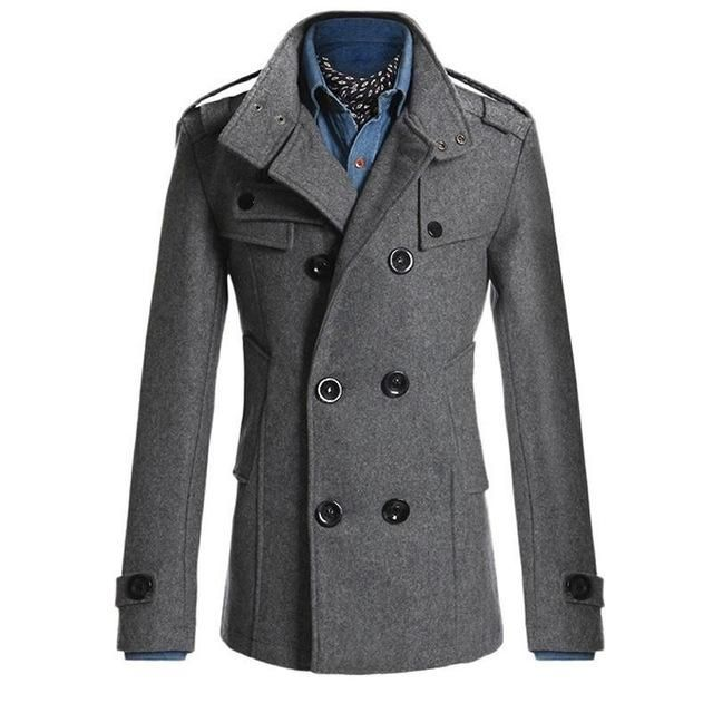Mens Fomal Collar Double Breasted Outwear Winter Casual Office Jacket Coat Sizes