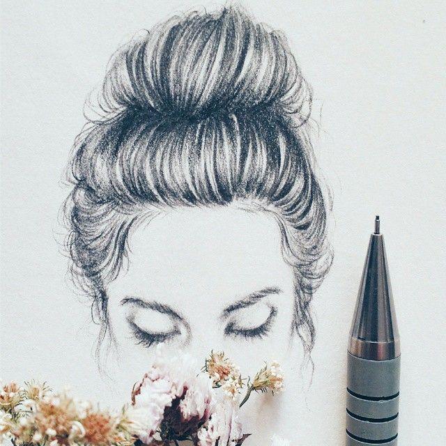 Messy Bun Sketch Art Work