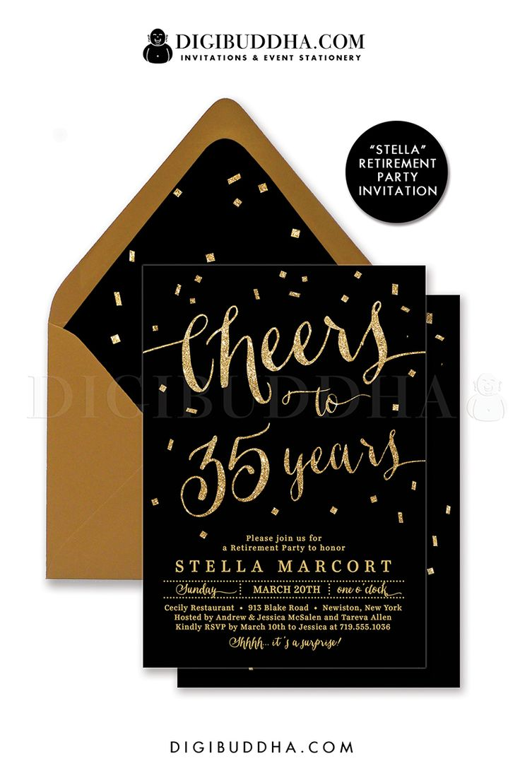 Cheers to years! Elegant black and gold glitter retirement party invitation with gold glitter lettering and confetti details. Choose from ready made printed invitations with envelopes or printable personal shower invitations. Gold shimmer envelopes and matching envelope liners also available. digibuddha.com