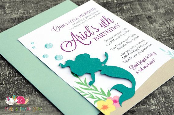Little Mermaid Invitations · A6 FLAT · Turquoise and Purple · Birthday Party | Baby Shower | Ariel | Under the Sea | Pool Party