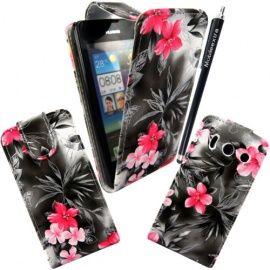 Stevige chique roze grijze bloemen hoesje incl credit card sleeves altijd handig en leuk.