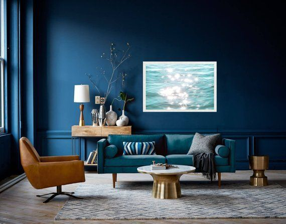 Pin By Ggabrielle Gabriele01 On Int In 2021 Blue Walls Living Room Mid Century Living Room Decor Blue Living Room