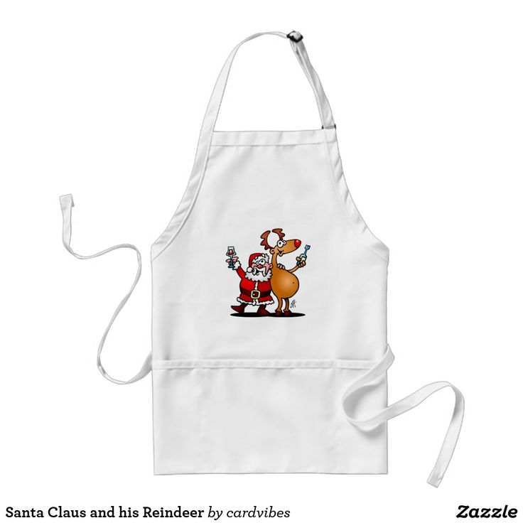 Santa Claus and his Reindeer Adult Apron. #christmas #apron #santa #santaclaus #gifts #giftideas #chistmasgifts#kitchen #xmas #zazzle #cardvibes #tekenaartje #SOLD