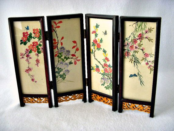Asian Folding Table Screen, Hand Painted Gouache on Silk, Japanese 4 Panel Table Top Display, Japan Folding Screen