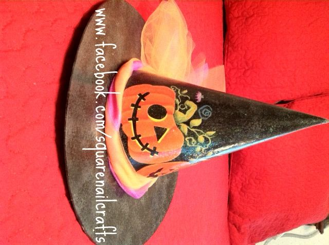 The other side of witch hat #2 that I painted using a Laurie Speltz design.