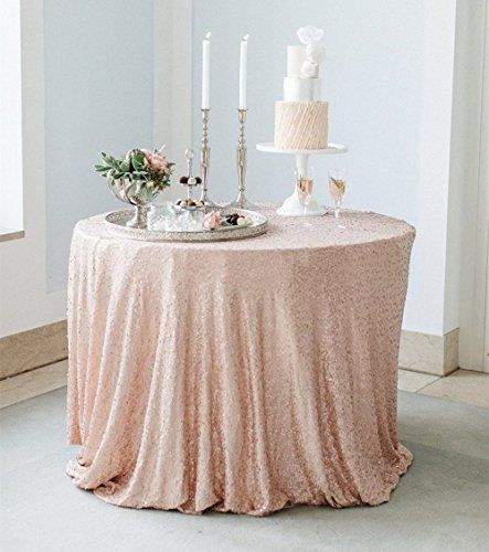 SoarDream 90 inch Round Champagne Blush Sequin Tablecloth...
