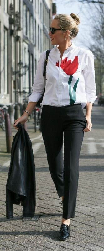 oxford lace up broges, black slim cropped pants, marni tulip shirt + silver jewelry