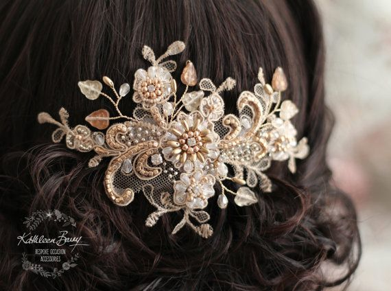 R1200 Lace rosegold hairpiece blush - wedding bridal accessories - veil comb - gold - copper - rose gold