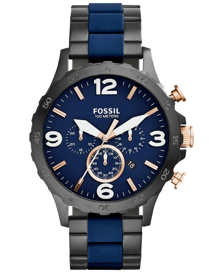 Fossil Men's Chronograph Nate Blue Silicone and Black Ion-Plated Stainless Steel Bracelet Watch 50mm JR1494 - Men's Watches - Jewelry & Watches - Macy's