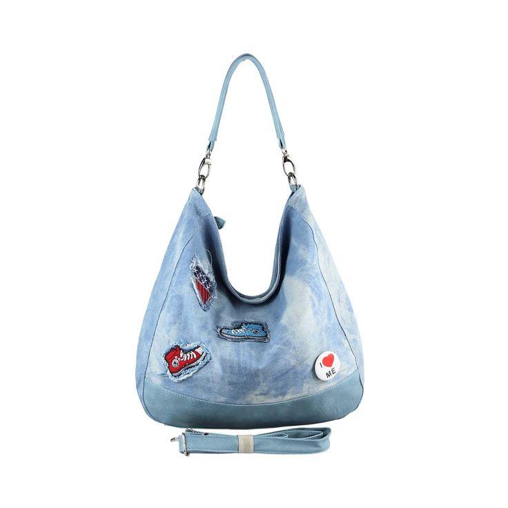. OBC XXL DAMEN JEANS TASCHE Metallic Handtasche Schultertasche Hobo-Bag Kette Henkeltasche Bowling Beuteltasche Shopper CrossOver Blau…