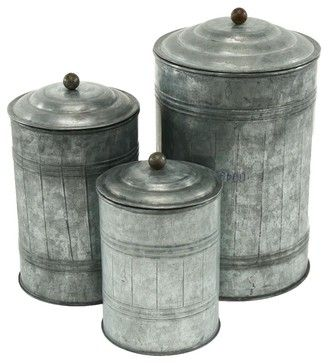 Galvanized Metal Canister - Set of 3 industrial-food-containers-and-storage