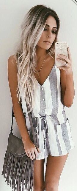 This beachy striped romper belongs in your wardrobe! Rompers are so fun and easy for any outside events going on! Just throw it on with your favorite accessories and you're good to go! Cute romper choices at www.blushandbashfulboutique.com!!!!